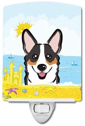 Corgi Caroline's Treasures Tricolor Summer Beach Ceramic Night Light