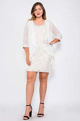 R & M Richards R&M Richards Women's Two Piece Fly Away Jacket Over Beaded Neck Laced Dress