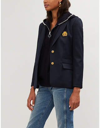 Claudie Pierlot Embroidered-patch twill blazer