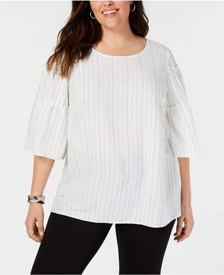 Alfani Plus Size Striped Tiered-Sleeve Top