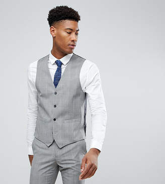 French Connection TALL Skinny Wedding Vest in Check