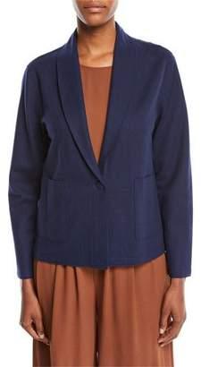 Eileen Fisher Boiled Wool Jersey Shawl-Collar Jacket