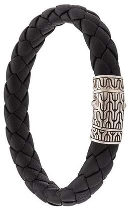 John Hardy Silver Classic Chain Woven Leather Bracelet