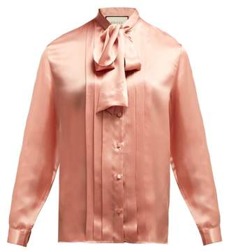 Gucci Pleated Silk Satin Blouse - Womens - Light Pink