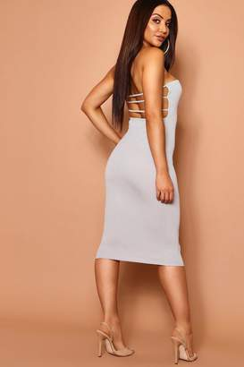 boohoo Bandeau Low Scoop Strappy Back Midi Dress