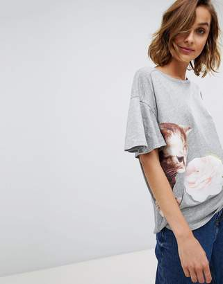 Paul & Joe Sister fluted sleeve cat t-shirt