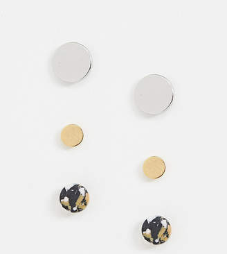 Whistles metal and stone stud earing pack