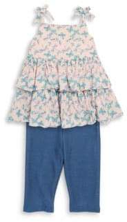 Little Girl's Two-Piece Butterfly Cotton Top and Leggings Set
