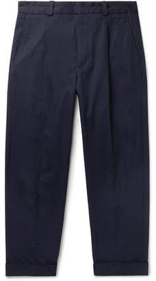 Acne Studios Cropped Pierre Pleated Stretch-Cotton Trousers