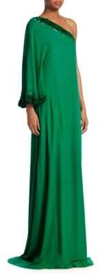 Ahluwalia Beaded Silk One-Shoulder Floor-Length Gown
