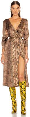 Andamane ANDAMANE Beverly Wrap Dress in Brown Snake | FWRD
