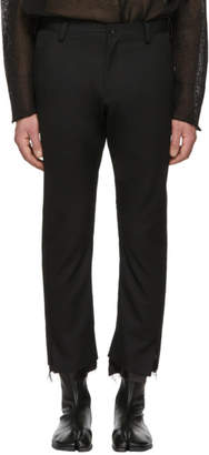 Sulvam Black 3D Slim Unfinished Hem Trousers
