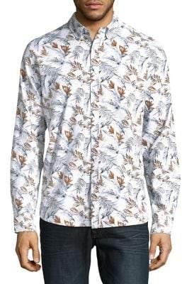 Black & Brown Black Brown Leaf-Printed Button-Down Shirt