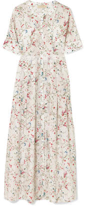 Paloma Blue - Luna Lace-trimmed Floral-print Silk Midi Dress - White