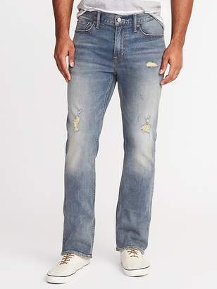 Old Navy Distressed Built-In Flex Boot-Cut Jeans for Men