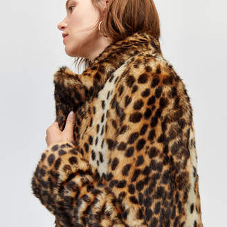 Warehouse Long Leopard Faux Fur Coat