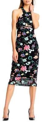 Aidan Mattox Halter Floral Dress with Lace Hem