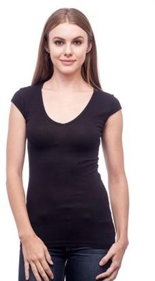 Clementine Apparel Women's Sheer Mini Rib Cap-Sleeve Deep V-Neck T-Shirt