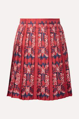 Valentino Pleated Printed Silk Mini Skirt - Red