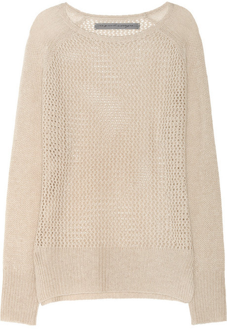 Raquel Allegra Open-knit cashmere sweater