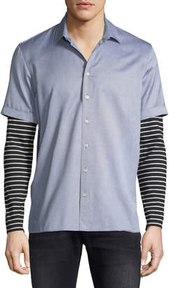 Neil Barrett Striped Jersey-Trim Shirt