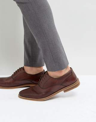 Asos DESIGN Oxford Brogue Shoes In Brown Leather With Perforated Detail