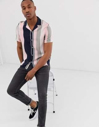 Burton Menswear revere shirt in pink and navy stripe