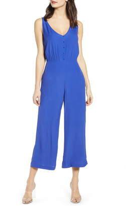 Leith Sleeveless Button Front Jumpsuit