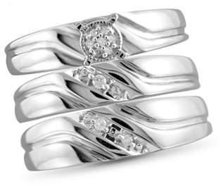 JewelersClub 1/20 Carat T.W. White Diamond Sterling Silver Trio Engagement Ring Set