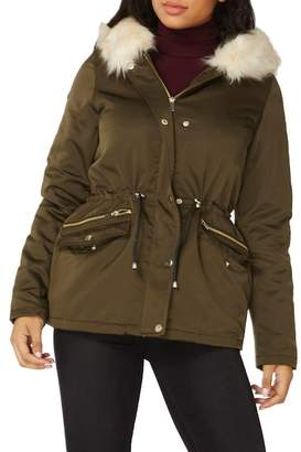 Dorothy Perkins Hooded Parka with Removable Faux Fur Trim