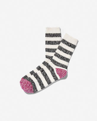 Express Stripe Color Block Heel Bootie Socks