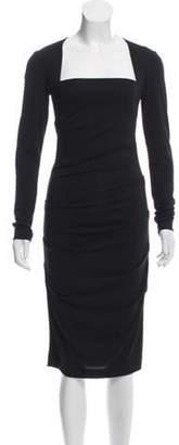 Nicole Miller Long Sleeve Midi Dress Black Long Sleeve Midi Dress