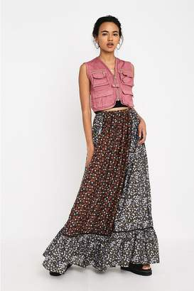 Urban Outfitters Floral Pattern Premium Tiered Maxi Skirt