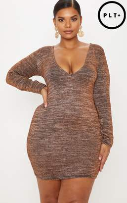 at PrettyLittleThing · PrettyLittleThing Plus Rust Glitter Lurex Plunge  Long Sleeve Bodycon Dress 02a74fd88