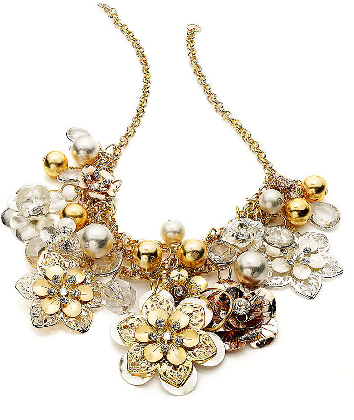 Style&Co. Necklace, Gold-Tone Brown Flower Bead Cluster Bib Necklace