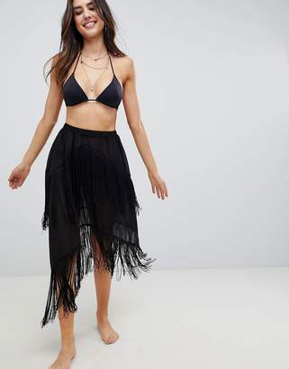 Asos Design DESIGN Fringe Layer Beach Sarong