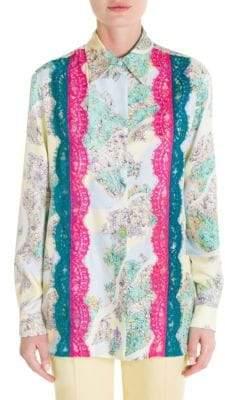 Emilio Pucci Floral-Print Lace Inset Blouse