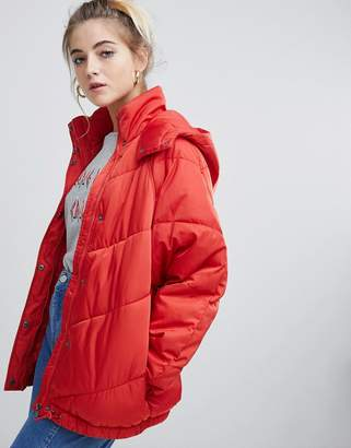 Noisy May padded coat with hood