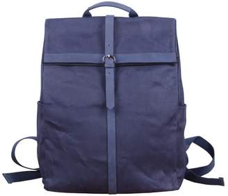 Touri 15'' Fold-Over Waxed Canvas & Leather Backpack In Mid-Night Blue