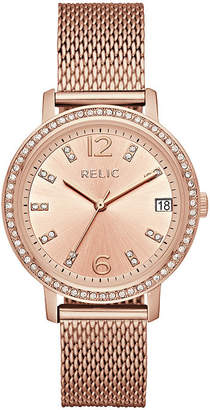 Rosegold RELIC Relic Womens Laurie Crystal Accent Mesh Strap Watch-Zr34399