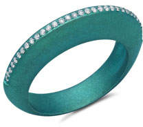 Graziela Gems Titanium Diamond Ring in Teal, Size 7