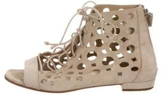 Prada Suede Open-Toe Sandals Beige Suede Open-Toe Sandals