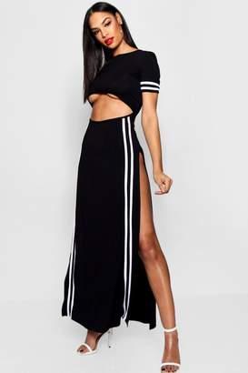 boohoo Pameline Cut Out Sports Stripe Maxi Dress