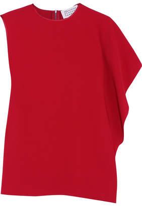 Maison Margiela - Asymmetric Draped Crepe Top - Red $715 thestylecure.com
