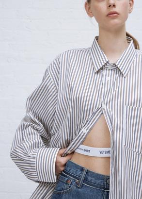 Vetements brown/navy stripe comme des garçons shirt classic shirt $765 thestylecure.com