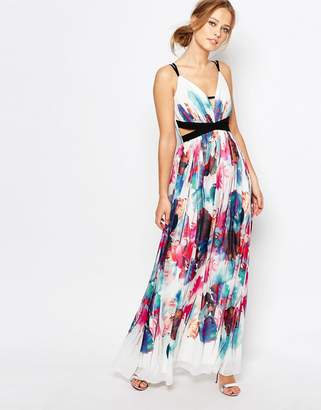 Little Mistress Cut Out Maxi Dress in Multi Print