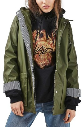 Women's Topshop Ivy Hooded Rain Jacket $100 thestylecure.com