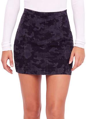 Free People Modern Femme Novelty Camo Stretch Mini Skirt