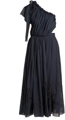 Fendi Silk-appliqué cotton voile dress