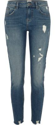 River IslandRiver Island Womens Mid blue Alannah ripped relaxed skinny jeans